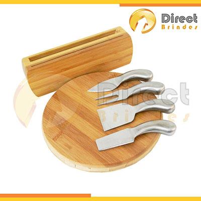 direct-brindes-personalizados - Kit para Queijo em Bambu 6 peças, acessórios para corte em metal. Gravação a laser