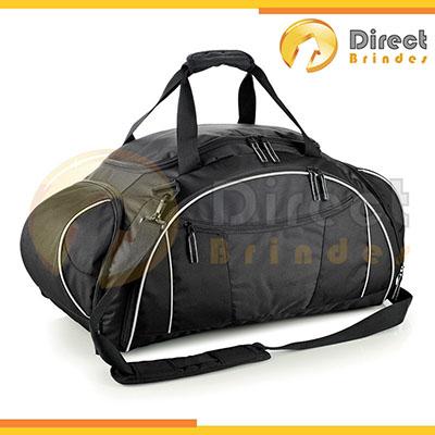 direct-brindes-personalizados - Mala esportiva ou de viagem em nylon e poliester customizada. alça de ombro ajustável, alça de mão, cinco divisões com zíper, capacidade 50 litros