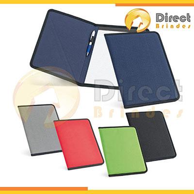 direct-brindes-personalizados - Pasta Executiva A4 em poliéster, bloco de 20 folhas pautadas, cores: Cinza, Vermelho, Verde, Azul e Preto