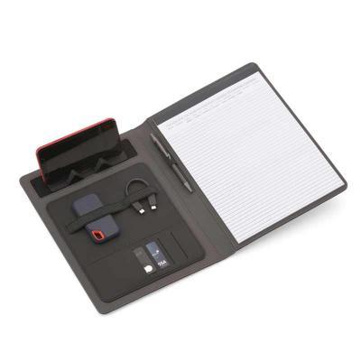 Pasta executiva com bloco de anotações de 20 folhas A4 pautada, Carregador de Telefone Celular se...