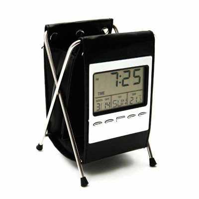 Porta Caneta com Relógio Digital (Couro e Metal) Personalizada