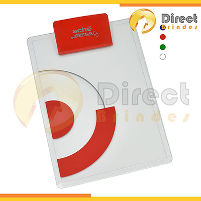 direct-brindes-personalizados - Prancheta A4 em acrílico. Prendedor de plástico disponível  em várias cores. Personalização em silk screen