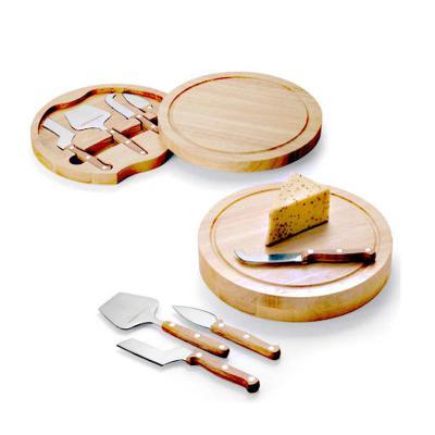 Direct Brindes Personalizados - Kit Queijo em Bambu 4pçs 1