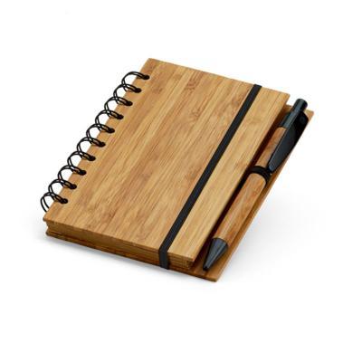 direct-brindes-personalizados - Bloco de Anotações Bambu com Caneta Esferográfica 1