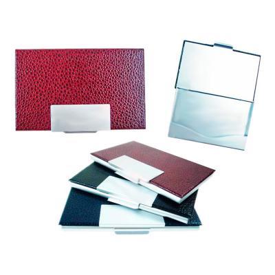 Direct Brindes Personalizados - Porta cartão de alumínio com detalhe em couro