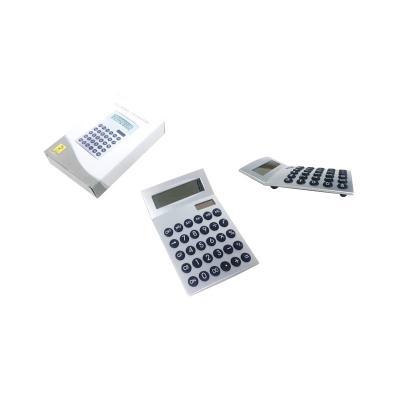 - Calculadora Plástica Prata com botões emborrachado preto possuí botão de desligar, também funciona por energia SOLAR .