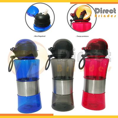 direct-brindes-personalizados - Squeeze 400ml com tampa e bico retrátil. Cores translúcidas / Azul , Preto , Vermelho. Embalagem plástica saco plástico incolor