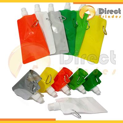 direct-brindes-personalizados - Squeeze Plástico Dobrável de 480ml. Produto higiênico conserva sua bebida gelada por mais tempo. Tampa protetora, Bico de fechamento e Mosquetão em al...