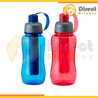 direct-brindes-personalizados - Squeeze Tubo Congelante ICE, capacidade 600, 500 ou 400 ml. Parte interna removível para resfriamento, consultar cores disponíveis