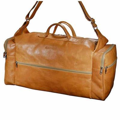 Bolsa de viagem personalizada, pespontada, confeccionada em couro ou sintético, alça de mão e bolsos laterais - UP Couro