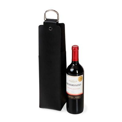 up-couro - Porta vinho personalizado, confeccionado em couro ou sintético, alça de metal. Medidas 40 x 10 cm.
