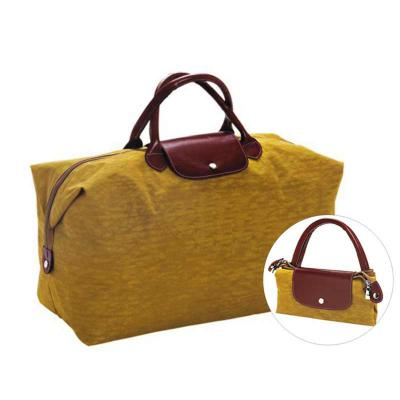 - Sacola promocional personalizada dobrável, confeccionada em nylon com detalhes em couro ou sintético