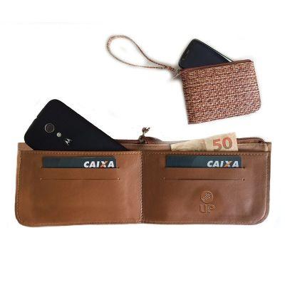 up-couro - Carteira, confeccionado em couro ou sintético, com porta cartões, também utilizada como porta celular, medida 17x10 cm