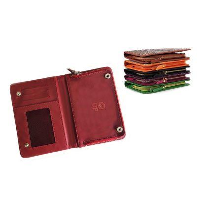 up-couro - Carteira promocional feminina, confeccionada em couro ou sintético, com porta cartões e bolso interno
