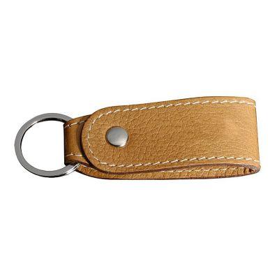 up-couro - Chaveiro personalizado, pespontado, confeccionado em couro com argola