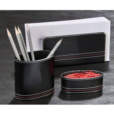 up-couro - Kit escritório, confeccionado em couro, com: porta cartas, porta canetas e clips