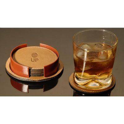 UP Couro - Porta copos promocional confeccionado em couro ou sintético