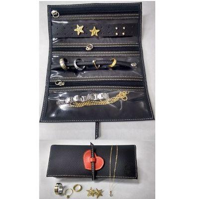 up-couro - Porta joias, confeccionado em couro ou sintético, detalhes no fechamento