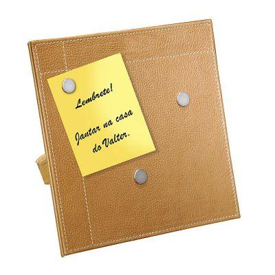 up-couro - Porta recado confeccionado em couro ou sintético. Medidas 19x19 cm