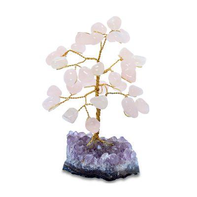 brasil-na-bagagem - Árvore formada por fios de metal e pedras de quartzo rosa