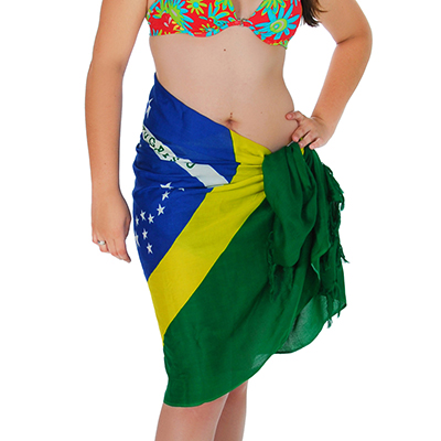 Brasil na Bagagem - Canga de praia 100% viscose. Estampa da bandeira do Brasil