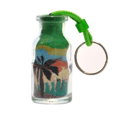 Brasil na Bagagem - Chaveiro garrafa com paisagens nordestinas, transportadas para garrafas de vidro, elaboradas com areias coloridas. Técnica totalmente artesanal.