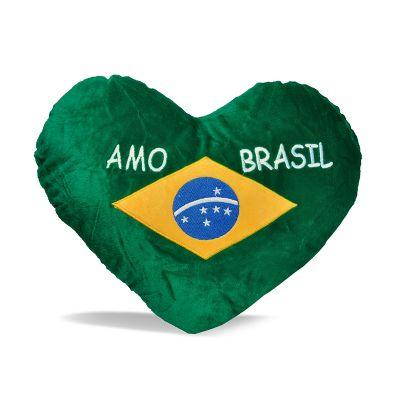 Brasil na Bagagem - Almofada de pelúcia em formato de coração