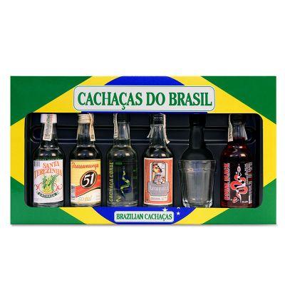 Brasil na Bagagem - Conjunto de 5 cachaças especiais e copinho para degustação