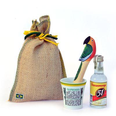 brasil-na-bagagem - Kit mini caipirinha com socador, que mede 15 cm