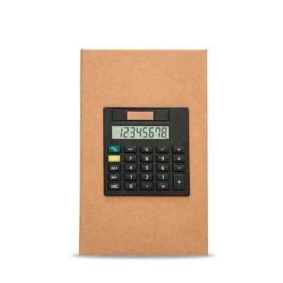 Bloco de anotações com calculadora, sticky notes (20 folhas) e marcadores de páginas (azul, verde...