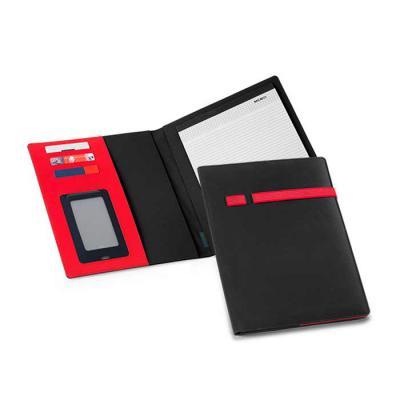 Pasta A4 Personalizada, Microfibra e 210D. Bloco: 20 folhas pautadas. Com porta esferográfica. Esferográfica não inclusa. 240 x 315 x 15 mm - Canarinho Brindes