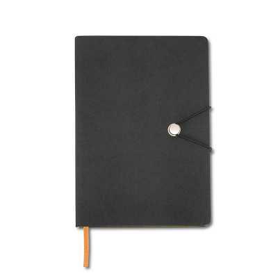 Caderneta Personalizada emborrachado de frente e verso liso, marcador de página em cetim e fita elástica para fechar. Contém aproximadamente 80 folhas... - Canarinho Brindes