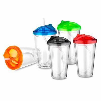 Canarinho Brindes - Copo de Plastico com canudo personalizado