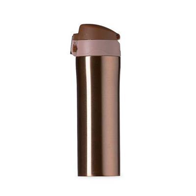 Garrafa térmica Personalizada 450ml colorida com sistema de trava. Material metálico com revestimento interno em inox, parte inferior com borracha ant...