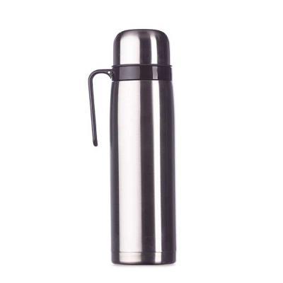 Canarinho Brindes - Garrafa térmica 1 litro Personalizada em inox com alça plástica preta. Possui tampa rosqueável, tampa interna rosqueável com bico plástico vermelho....