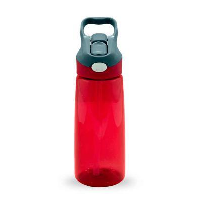 Canarinho Brindes - Squeeze 650ml plástico com acionador para abertura.  Material plástico transparente, possui tampa rosqueável com alça e botão acionador com proteção p...