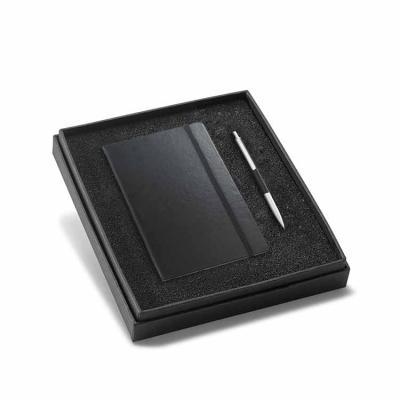 Kit Bloco e caneta Personalizada com caderno e esferográfica. Cartão e alumínio. Caderno capa dur...