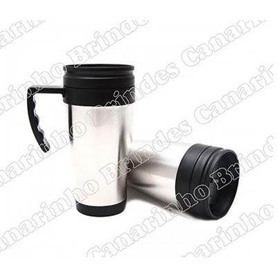Canarinho Brindes - Caneca térmica 400ml em inox com base e alça preta personalizada.
