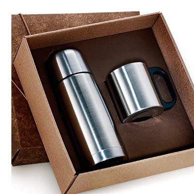 Kit com garrafa térmica de 500 ml e caneca de 200 ml.