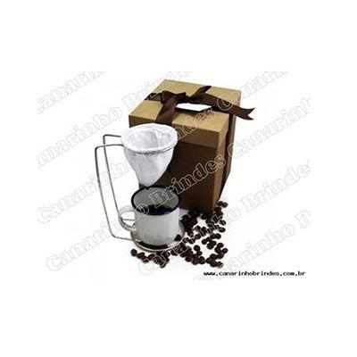 Canarinho Brindes - Mini coador de café e uma xícara personalizada.