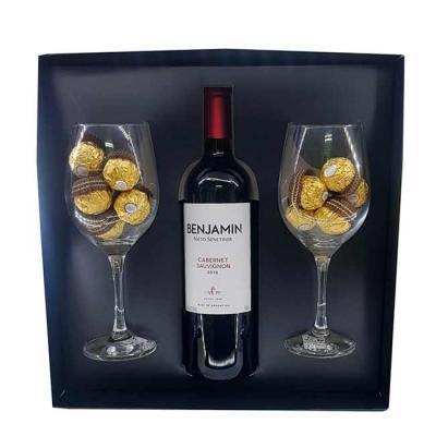 Kit Natalino Personalizado contendo: 1 Caixa de presente 1 vinho Cabernet 750ml, 18 bombons Ferre...