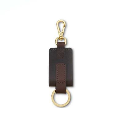Sofisticado e com design diferenciado o chaveiro em couro possui argola e mosquetão, que facilita...