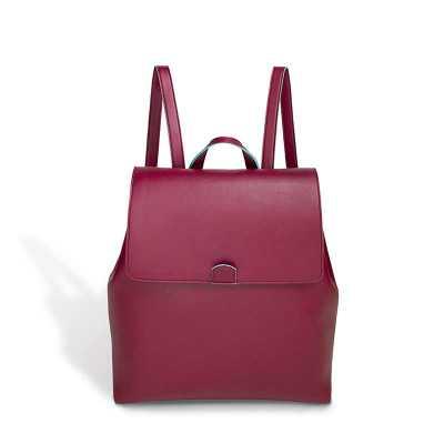 Alvo Couros - Linda mochila em collorline vinho com fechamento em botão de imã e bolsinha com zíper interno e laterais com botão de pressão, moderna e confortável i...
