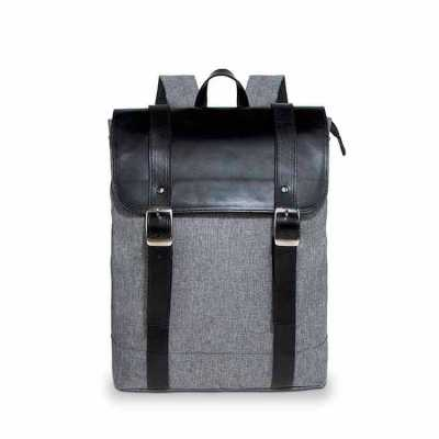 alvo-couro - Mochila sofisticada em nylon linho com suporte para notebook, fechamento em ziper e aba de couro com botão, um maravilhoso presente corporativo person...