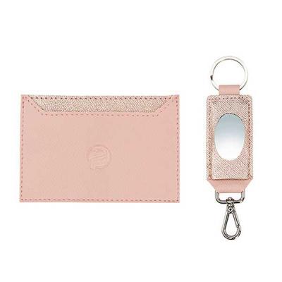 alvo-couro - Kit feminino possui um incrível e prático porta cartão em couro com detalhes em transfer rose e  um charmoso chaveiro com espelho . Um maravilhoso pre...