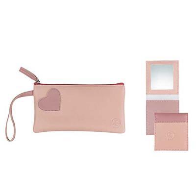 Alvo Couros - Um incrível kit feminino prático e portátil possui uma carteira / porta celular em couro com um detalhe de coração e um charmoso espelho de bolsa. Um...