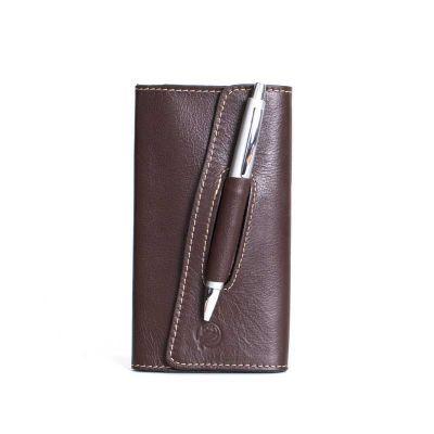 alvo-couro - Agenda de bolso com caneta