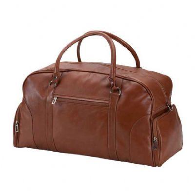 Bolsa de viagem com 2 bolsos laterais e um bolso frontal. - Alvo Couros