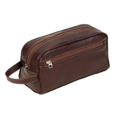 alvo-couros - Nécessaire em couro com bolso frontal e alça de mão.
