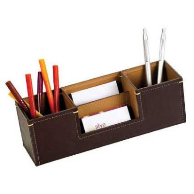 alvo-couro - Organizador de mesa em couro com espaço para papel